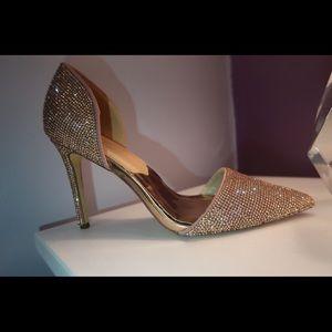 Shoes - Rose gold rhinestone heels
